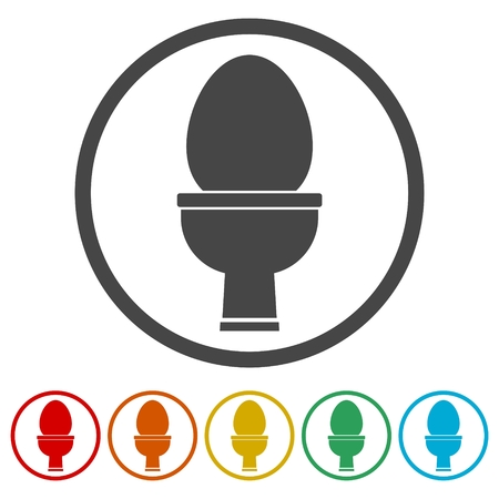 Toilet bowl icon, 6 Colors Included Illustration