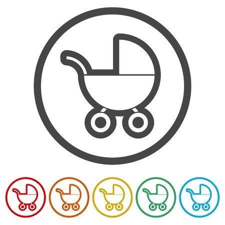 Baby Stroller icon (Silhouette), 6 Colors Included