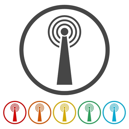 Transmitter simple icon, Transmitter tower icon, 6 Colors Included Ilustração
