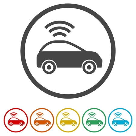 The Connected Car. Smart car icon with wireless connectivity symbol, 6 Colors Included Ilustração