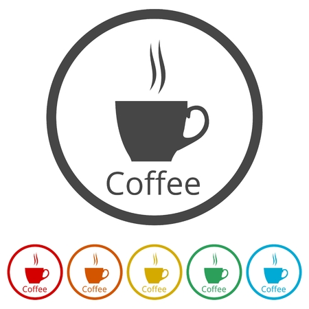 Coffee cup icon, 6 Colors Included