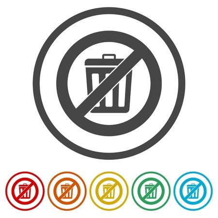 Ne jetez pas de déchets, icône de signe de corbeille, 6 couleurs incluses