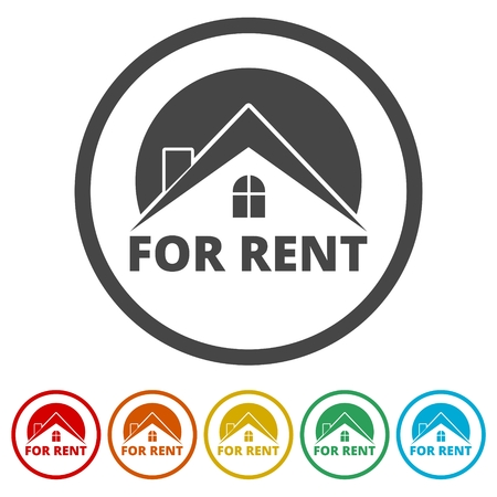 For Rent Sign, Vector icon, 6 Colors Included Stock Illustratie