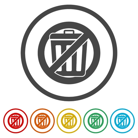 Don`t throw trash, Recycle bin sign icon, 6 Colors Included