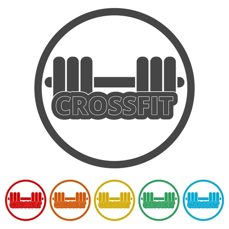 Gym dumbbell flat design, Cross fit icon, 6 Colors Included