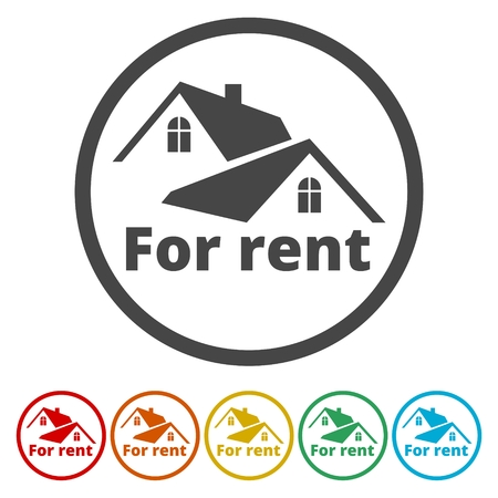 For Rent Sign, Vector icon, 6 Colors Included 矢量图像