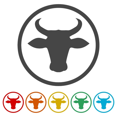 Bull icon vector, 6 Colors Included