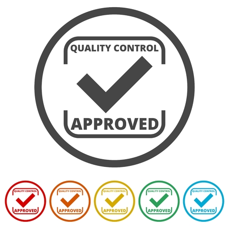 Approved button sign icon, 6 Colors Included Illustration