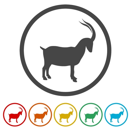 Goat icon, 6 Colors Included Illustration