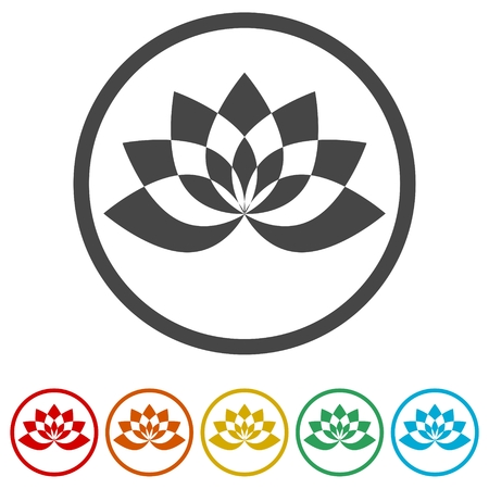 Simple lotus plant, Lotus silhouette icon, 6 Colors Included