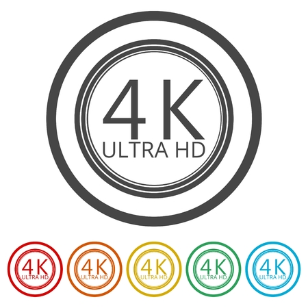 Ultra HD 4K icon set, 6 Colors Included Vektoros illusztráció