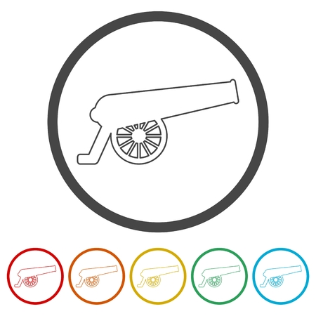 Cannon icon, 6 Colors Included Illustration