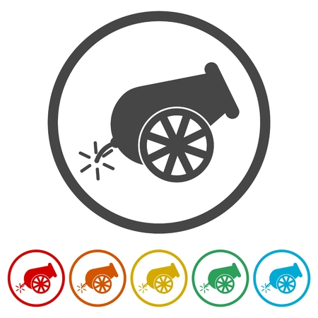 Cannon icon, 6 Colors Included Vettoriali