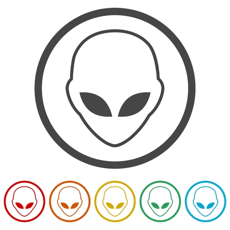 Alien head icon, Extraterrestrial alien face, 6 Colors Included