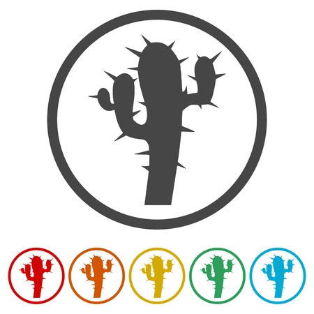Cactus plant silhouette, 6 Colors Included