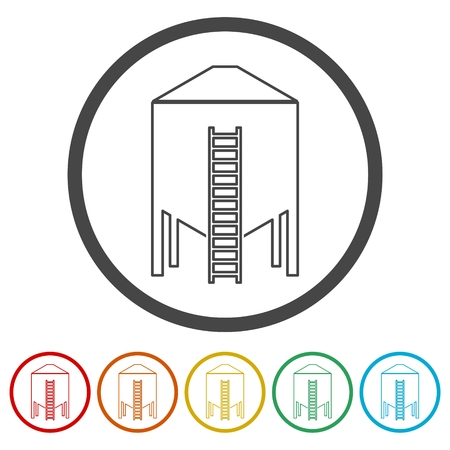 Silos storage icon, 6 Colors Included Vettoriali