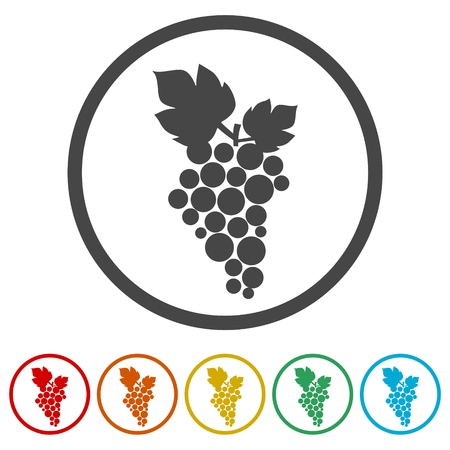 Grapes Icon, Grape logo, 6 Colors Included Illustration