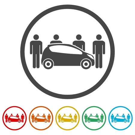 Car Sharing icon, Car sharing Symbol, 6 Colors Included