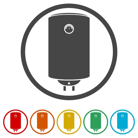 Electric boiler icon - vector Illustration, 6 Colors Included