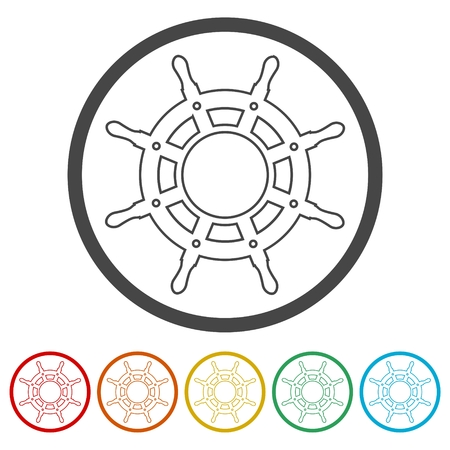 Steering wheel of the ship, Ship wheel, 6 Colors Included Stock Vector - 118223708