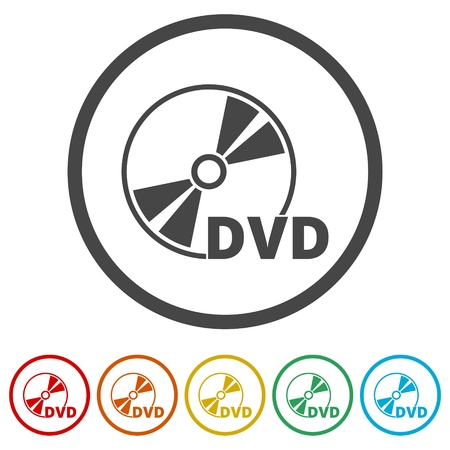 Black dvd icon isolated on white, 6 Colors Included