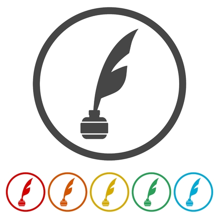 Feather with ink sign icon, 6 Colors Included
