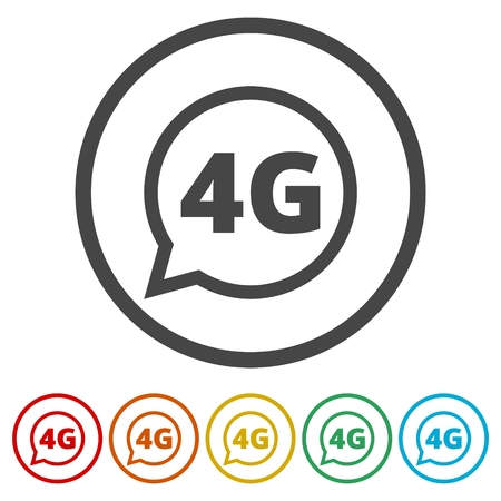 4G icon, 4g network icon, 6 Colors Included Illustration