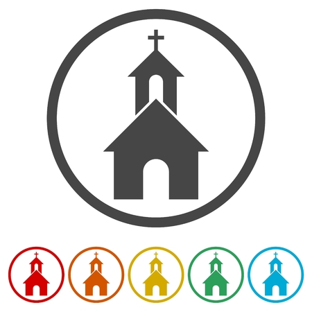 Church on white background - Illustration, 6 Colors Included