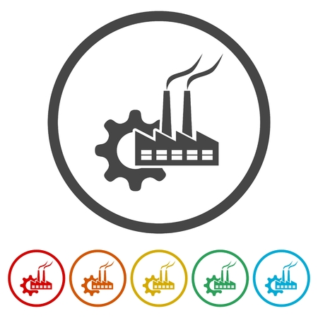 Factory icon, 6 Colors Included Stock Vector - 119448928