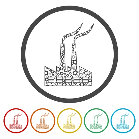 Factory icon, 6 Colors Included Stock Vector - 119449673