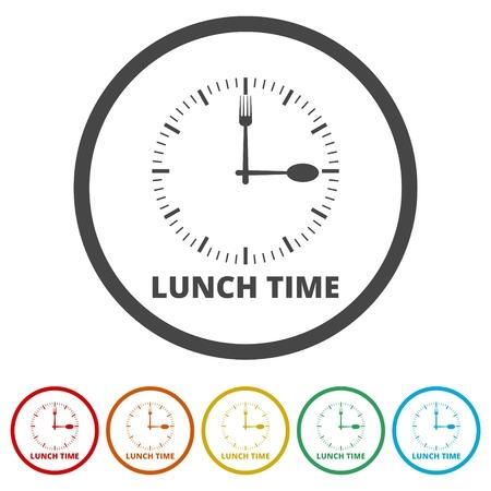 Ora per il pranzo, icona dell'ora del pranzo piatta, 6 colori inclusi Vettoriali