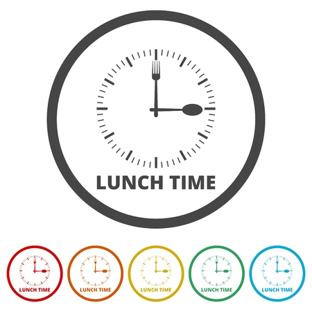 Time For Lunch, Flat Lunch Time icon, 6 Colors Included Ilustração Vetorial
