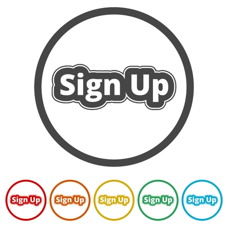 Sign up sign, Sign up icon, 6 Colors Included