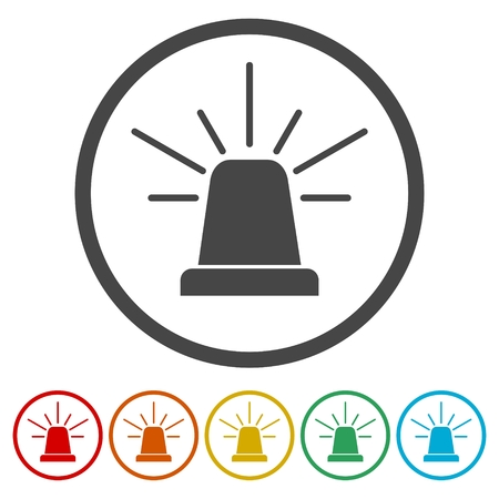 Siren icon for web and mobile, Alarm siren vector icon, 6 Colors Included