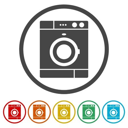 Waschmaschinensymbol, 6 Farben enthalten Vektorgrafik