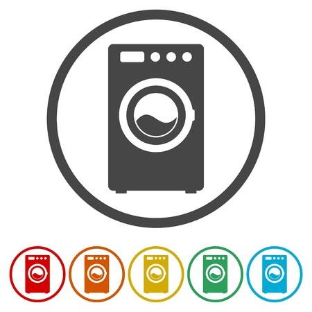 Washing machine icon, 6 Colors Included
