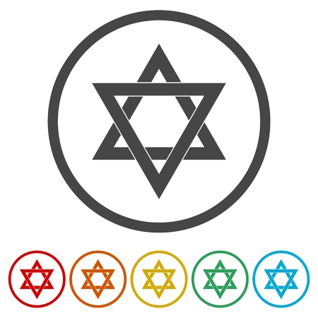 Star of David icon, 6 Colors Included