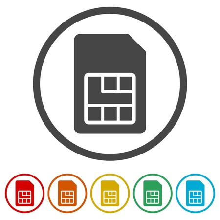 Sim card icon, 6 Colors Included 矢量图像