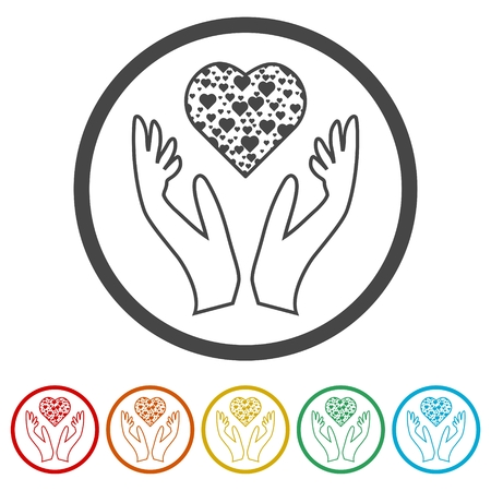Heart in hands sign icon, Donation icon, 6 Colors Included