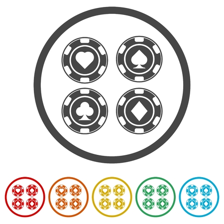 Casino chip icon, Poker icon, 6 Colors Included