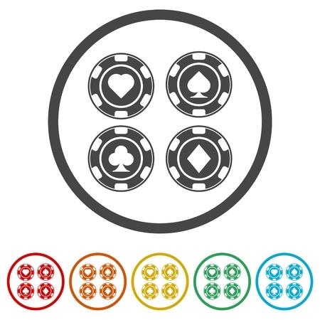 Casino chip icon, Poker icon, 6 Colors Included