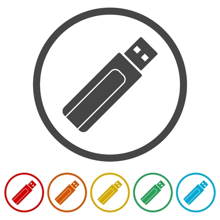 Usb flash memory icon, 6 Colors Included Illustration
