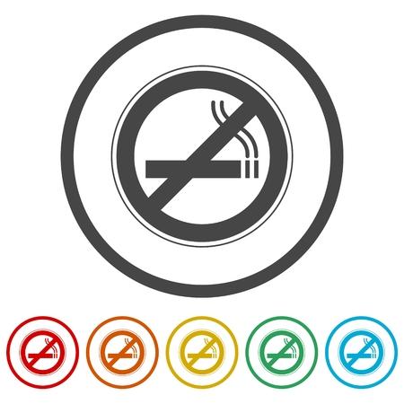 No smoking, No smoking sign, 6 Colors Included  イラスト・ベクター素材