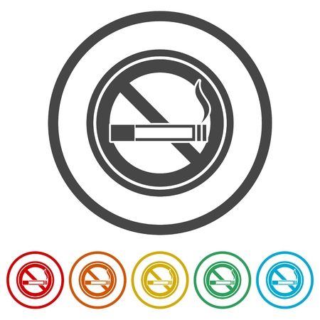 No smoking, No smoking sign, 6 Colors Included Illustration