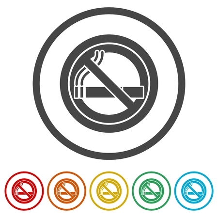 No smoking, No smoking sign, 6 Colors Included Vectores