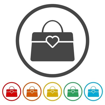 Women handbag icon, 6 Colors Included