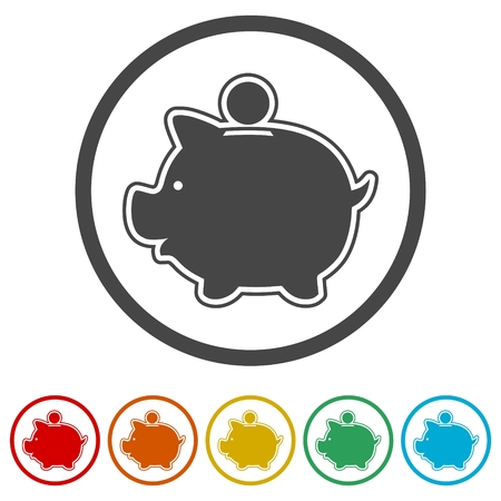 Piggy bank icon, 6 Colors Included