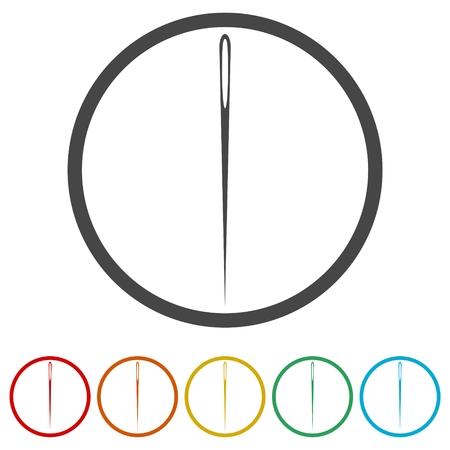 Icône d'aiguille, icône de fil et d'aiguille, 6 couleurs incluses Vecteurs
