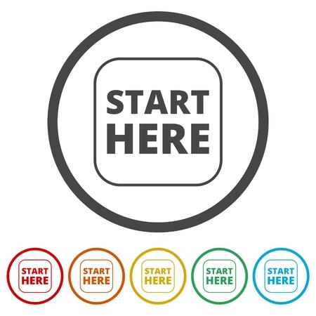 Start hier Zeichen, Start hier Symbol, Start hier Schaltfläche, 6 Farben enthalten Vektorgrafik