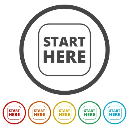 Start here sign, Start here icon, Start here button, 6 Colors Included
